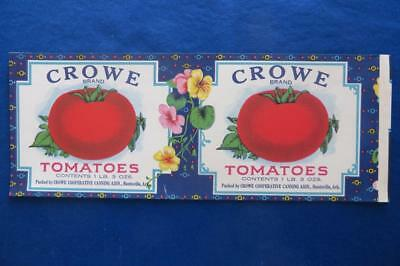 Vintage Can Label Crowe Brand Tomatoes Huntsville Arkansas