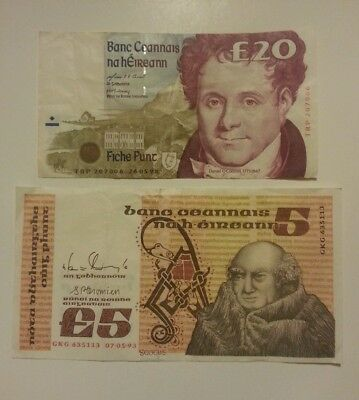 IRELAND 20 & 5 Pounds 1995 CRISP BANKNOTEs PAPER MONEY VALUE XF+ CIRCULATED
