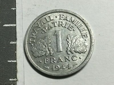 FRANCE Vichy 1944-C 1 Franc coin excellent condition