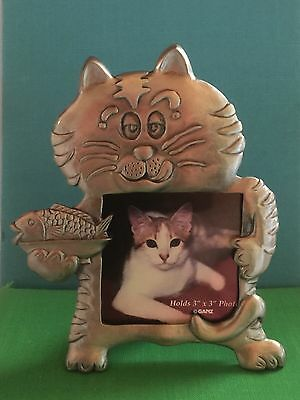 Amazing Cat w Fish Dinner Brushed Pewter Picture Frame by Ganz 3 x 3