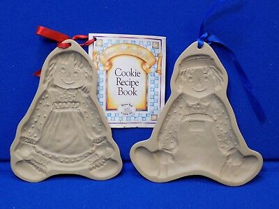 2 Brown Bag Cookie Art Mold Presses Hill Design Raggedy Ann & Andy Doll set lot