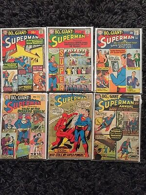 Superman Lot Of 6 Comics Silver Age 80 Page Giant Annual 1