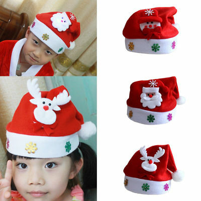 Kid/Child LED Christmas Hat Santa Claus Reindeer Snowman Red Xmas Light Up Cap
