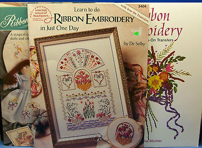 LOT of 3-RIBBON EMBRODERY Instructional Books-Dolls-Transfers-How To-See photos