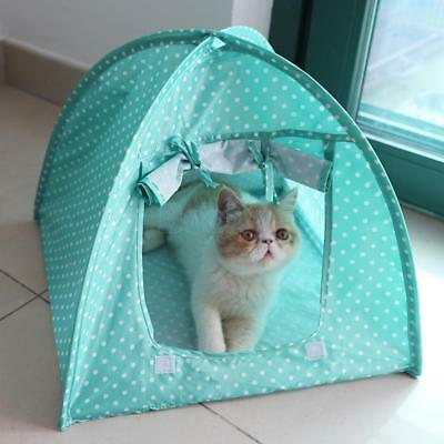 Pet Folding Kennel Tent Bed Kitten Cat Nylon Play House Sun Shelter-Green