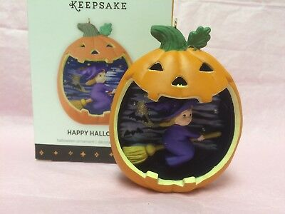 Hallmark 2013 HAPPY HALLOWEEN Witch in Broom Ornament - 1st in Series MIB