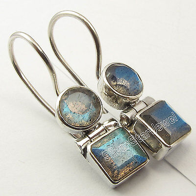 "925 Silver Genuine LABRADORITE Earrings 1"" SEMI PRECIOUS GEMSTONE"