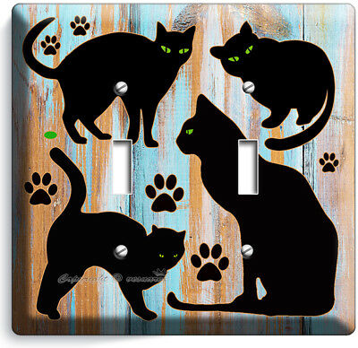 Cute Black Cats Rustic Paint Wood Double Light Switch Wall Plate Room Home Decor