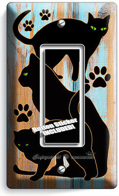 Black Cats Rustic Paint Wood Single Gfci Light Switch Wall Plate Room Home Decor