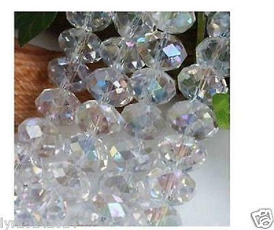 6mm 100pc White Jewelry Faceted Rondelle glass crystal Loose beads