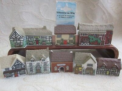 8 vintage WADE WHIMSEY on WHY VILLAGEceramic HOUSES & SHOPS  imperfections