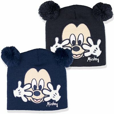 Disney Mickey Mouse face BABY Boys Knitted Warm Winter Hat Pom Poms New 2017/18
