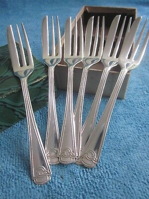 6 vintage silverplated CAKE FORKS in BOX high tea party