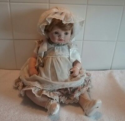 Collectable Porcelain Doll Baby Girl Sitting
