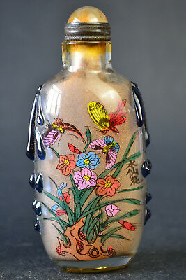Collectible China Handwork Glass Inside Painting butterfly Snuff Bottle Fine