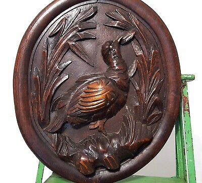 HAND CARVED WOOD PANEL ANTIQUE FRENCH HUNTING TROPHY CARVING SCULPTURE 19 th