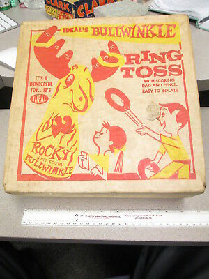 BULLWINKLE Rocky Ideal Toy Co ITC 1960 Ring Toss playset inflatable bop bag