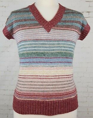 Ladies 1970s Vtg Unworn Pastel Stripe Stretch Skinny Wool Blend Tanktop -16-EK77