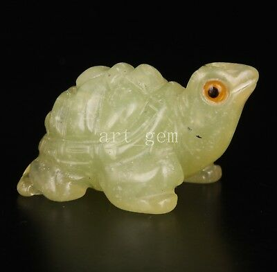 Permeable Jade Carvings Lifelike Statue Tortoise Collectable Old