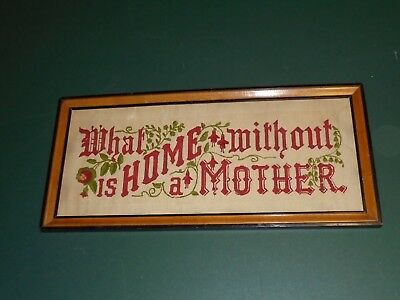 Vintage Needlepoint Motto Sampler What Is Home Without A Mother