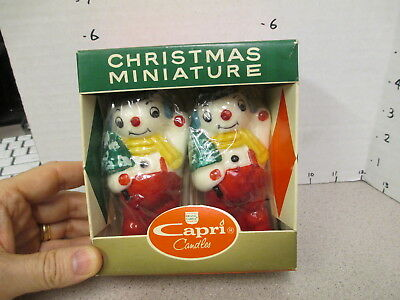 Capri 1960s Christmas figural candle MIB unused (2) SNOWMAN suspenders playset
