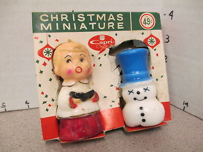 Capri 1960s Christmas figural candle MIB unused choir angel snowman Dial soap