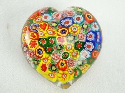 Fine Vintage Murano Millefiori Art Glass Heart Shaped paper weight Italy C1970s
