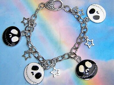 Nightmare Before Christmas Enamel Charms Silver Chain Bracelet Gift Bag Or Box