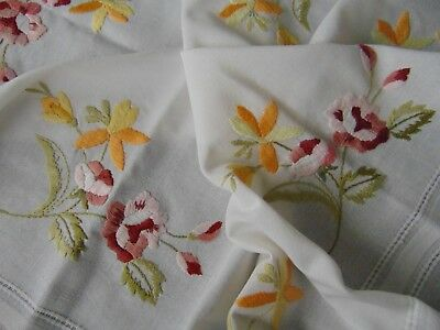 Vintage Hand Raised Embroidery Poppies Pure-Cotton Tablecloth Immaculate