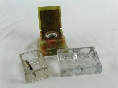 3 Antique Inkwells Inc Stone Set and Glass Frank A Week for Paragon No 20 Englan