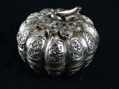 Pumpkin Form Silver Betal Box Paung Cambodian Etched and Applied Cambodia