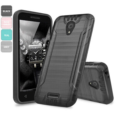 For Alcatel idealXCITE/CAMEOX Tough Brushed Hybrid Armor Rubber Phone Case