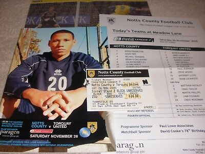 Notts County v Torquay United  26/11/05  With Ticket + Team Sheet + Match Report