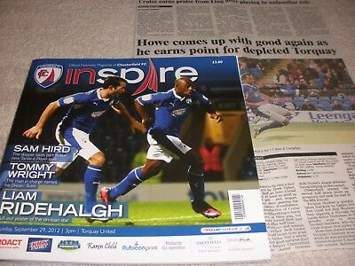 Chesterfield v Torquay United  29/9/12.  With Newspaper Match Report.