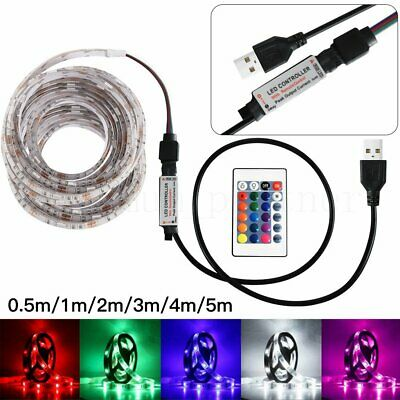 50-500CM 5050RGB USB LED Strip Light TV Back Lamp Colour Changing+Remote Control