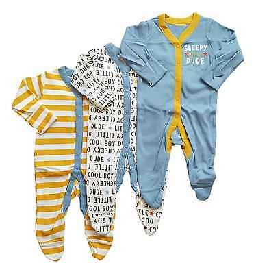 Baby Boys 3 Pack Babygrow Sleepsuit 100% Cotton NB -18/24 Ex Store New Pjs