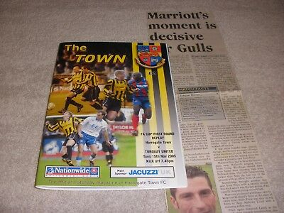 Harrogate Town v Torquay United  15/11/05.  FA Cup 1st Round Replay + Report.