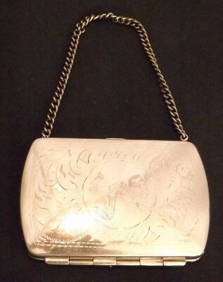 #7507 Silver Plate? Purse Engraved with Isle Of Man three leg logo