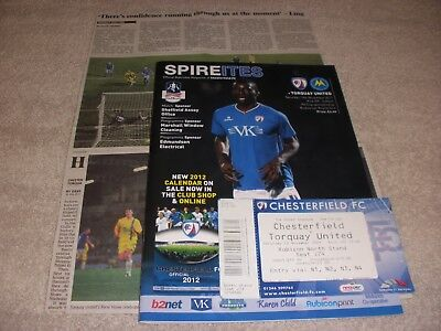 Chesterfield v Torquay United  12/11/11.  FA Cup 1st Round. + Ticket + Report.