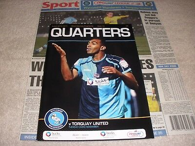 Wycombe Wanderers v Torquay United  23/11/10.  With Newspaper Match Report.