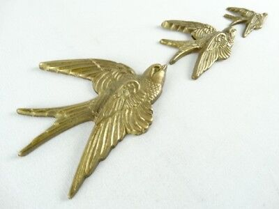 British Vintage, Set of 3 Brass Swallow Wall Plaque Ex Le grenier London RRP £35