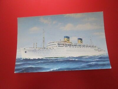 Vintage National Hellenic American Line Queen Frederica Postcard