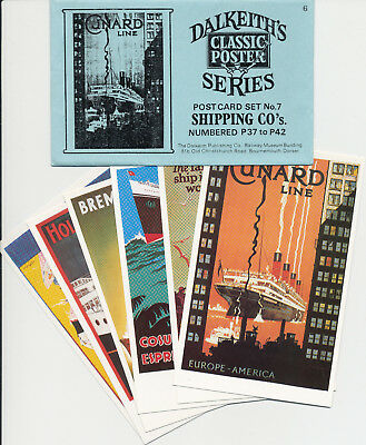 Dalkeith 6 postcard set Shipping Steamship Classic Posters