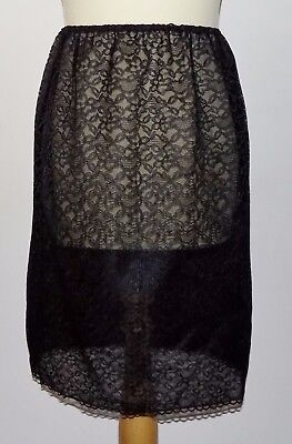 VINTAGE 1970's UNWORN LADIES BLACK DOUBLE LAYER NYLON & LACE SLIP HALF SIZE 32""