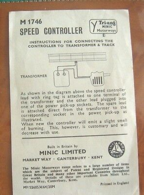 TRIANG Minic Motorway M1746 SPEED CONTROLLER  original operating instructions