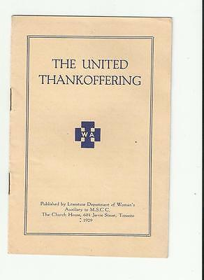 1929 United Thankoffering Woman's Auxiliary To Mscc  Church House Toronto