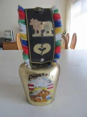 Good  Used,   Austrian,  Alp.  Cow  Bell,   With  Leather  Strap, Alpine  Scene.
