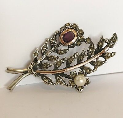 Antique Art Deco Continental - 935 Solid Silver - Marcasite & Pearl Brooch