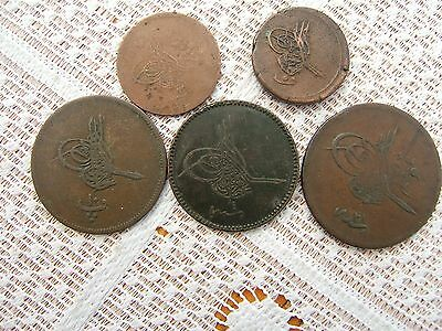 'OTTOMAN'  EMPIRE....  FIVE 19th CENTURY COINS......N.S.2