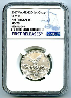 2017 Mo Mexico 1/4 Oz Onza Silver Libertad Ngc Ms70 First Releases Rare Top Pop